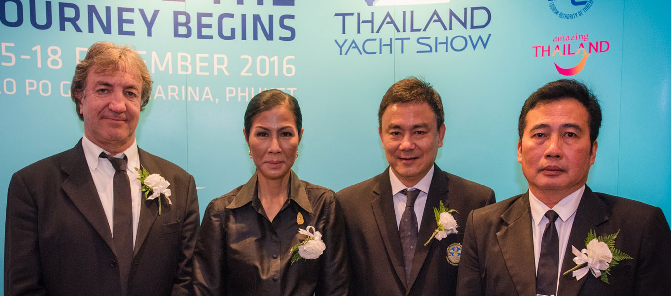 (From left)Mr. Andy Treadwell, Managing Director of the Thailand Yacht Show , H.E. Kobkarn Wattanavrangkul, Minister of Tourism and Sports , Mr. Pongpanu Svetarundra, Permanent Secretary of Ministry Of Tourism and Sports and Mr. Noppadon Pakprot, TAT Deputy Governor for Tourism Products and Business