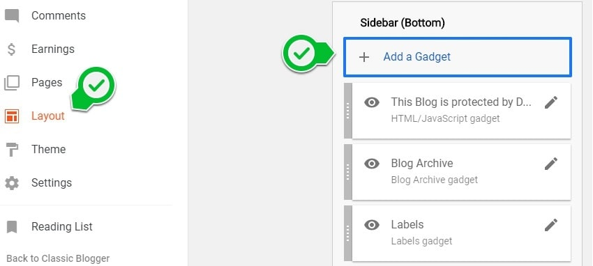 Add blogger gadget