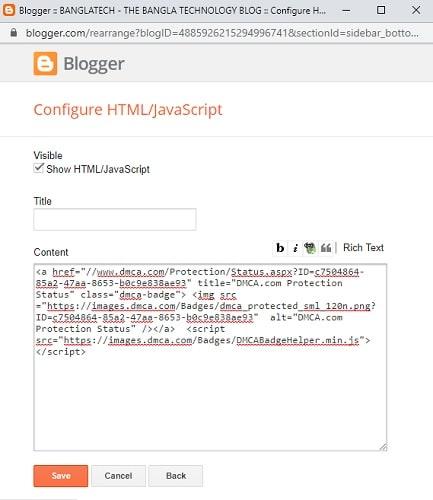 add html code in blogger