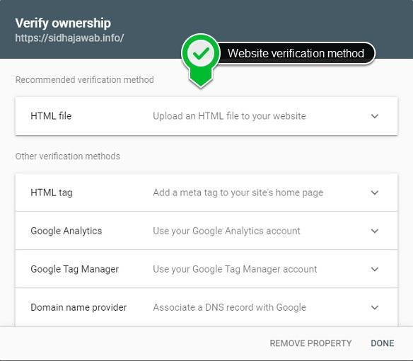 website verification methods