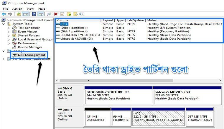 go to disk management option