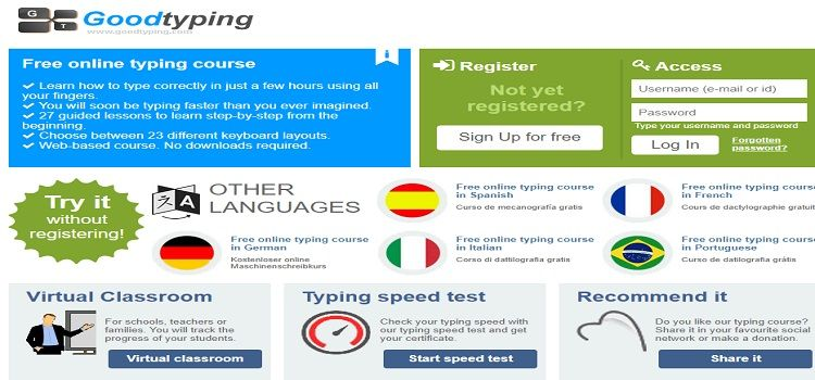 Goodtyping virtual typing courses