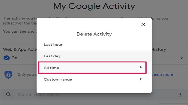 Select history duration to delete