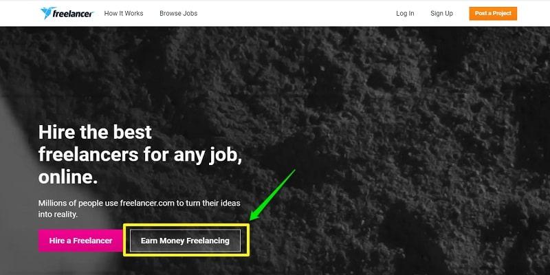 Create a freelancer account