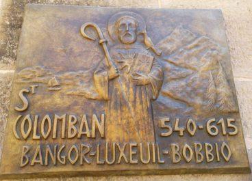 Bobbio Plaque, Saint Columbanus Trail Bangor Northern Ireland to Bobbio