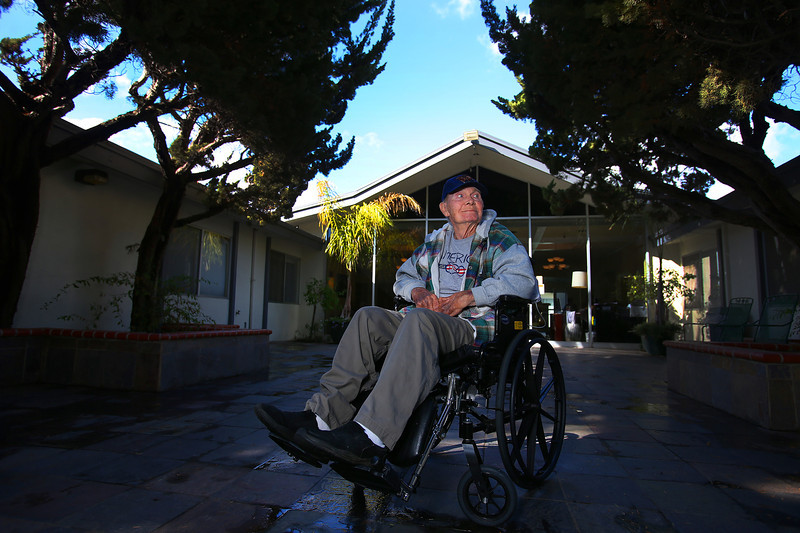 Stan Phillips is photographed at the Hayward Hills Healthcare Center on Monday, Feb. 3, 2014 in Hayward, Calif. Phillips was a resident of Valley Springs Manor assisted living facility, but relocated when workers abandoned it. (Aric Crabb/Bay Area News Group)