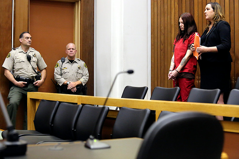 Alix Tichelman is arraigned on Wednesday on manslaughter charges for the death of Google executive Forrest Hayes as she appears in Santa Cruz County Superior Court with public defender Athena Reis. (Shmuel Thaler/Santa Cruz Sentinel)