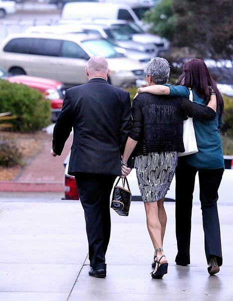 Alix Tichelmanís parents Bart and Leslie Tichelman and her sister Monica Tichelman leave the Santa Cruz County Courthouse after Wednesday's arraignment.<br /><br /><br /><br /> (Shmuel Thaler/Santa Cruz Sentinel)