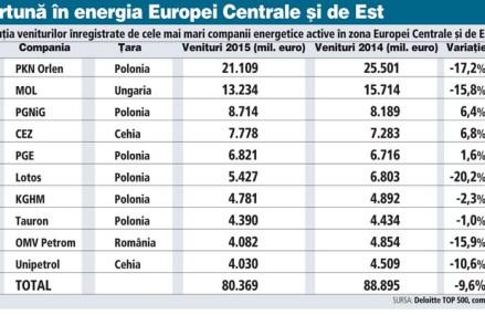 Furtună în energia din Europa Centrală şi de Est. Petrom, a treia cea mai mare scădere de business dintre greii regiunii. Aproape 8,5 miliarde de euro au fost şterse de prăbuşirea preţului petrolului
