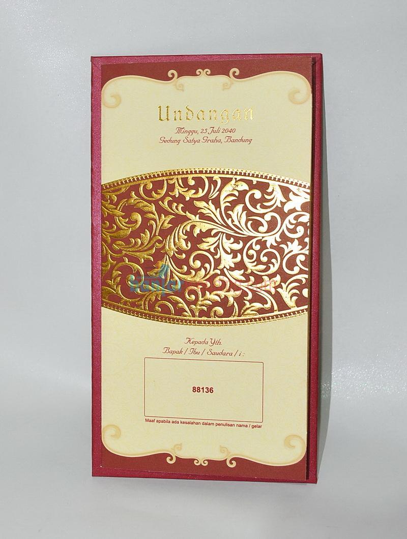 Undangan Pernikahan Semi Hard Cover Merah Emas Eb 88136 Banjar