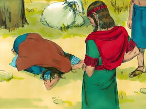 Ruth bows to Boaz