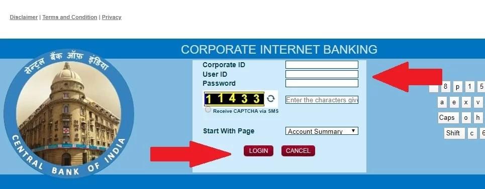 central bank net banking login
