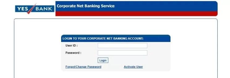 yes bank login
