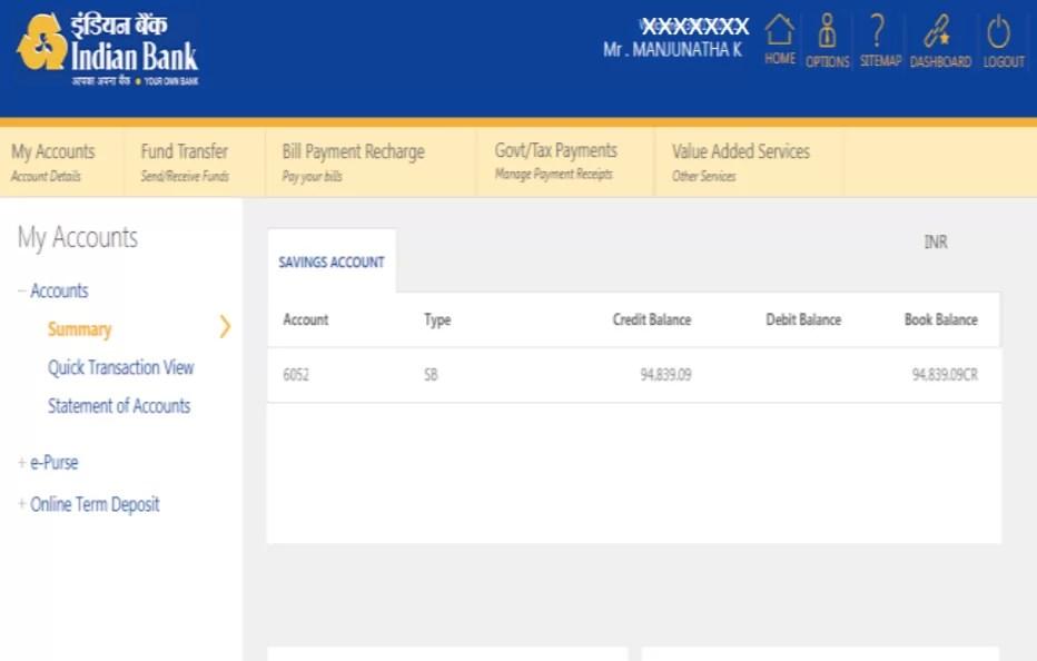 India Bank transactions Password