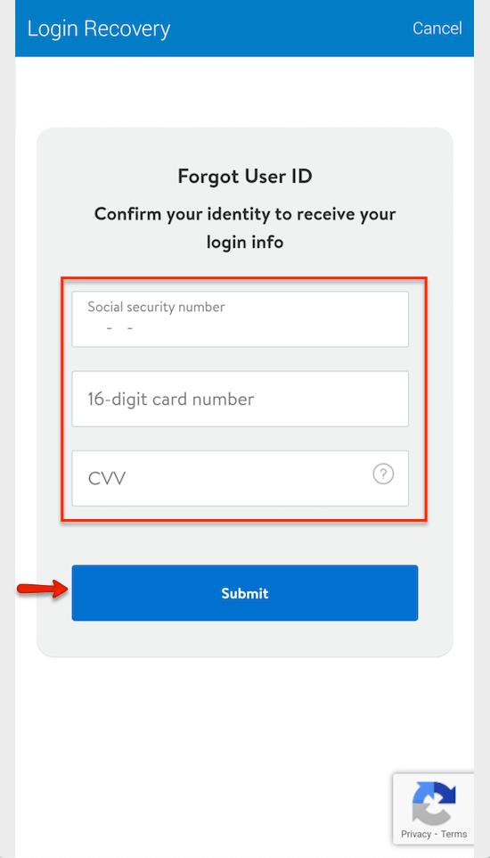 """Reset Walmart MoneyCard User ID - 1"""