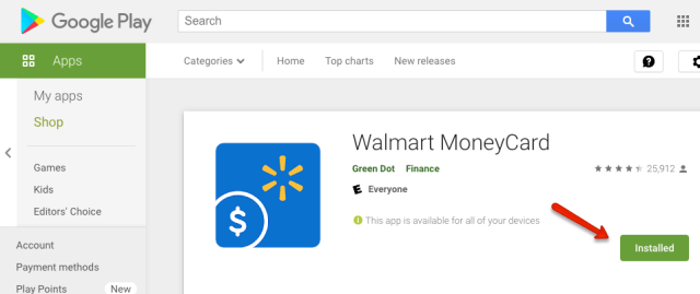 """""""Walmart MoneyCard Mobile App for Android"""""""