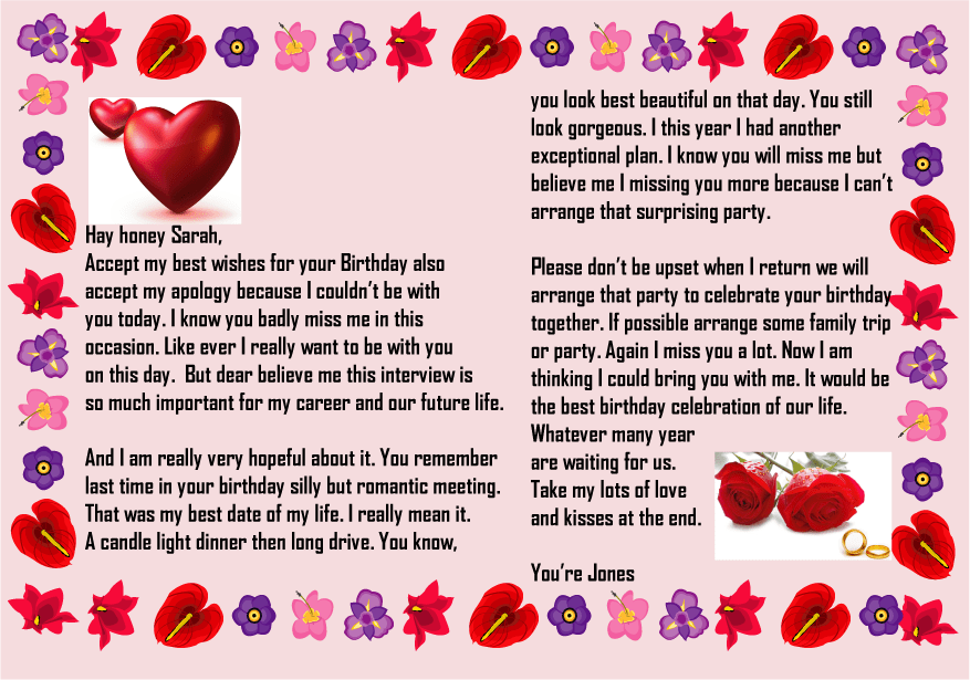 Happy birthday letter to girlfriend with picture
