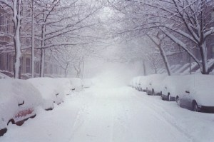 snow road cars