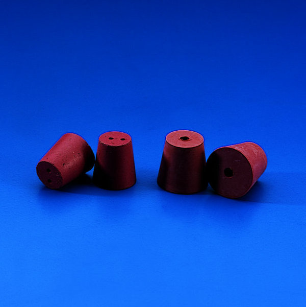 CONICAL STOPPERS Red Rubber * Drilled *  with 6 mm id Single Hole   | 37 x 28 mm dia.