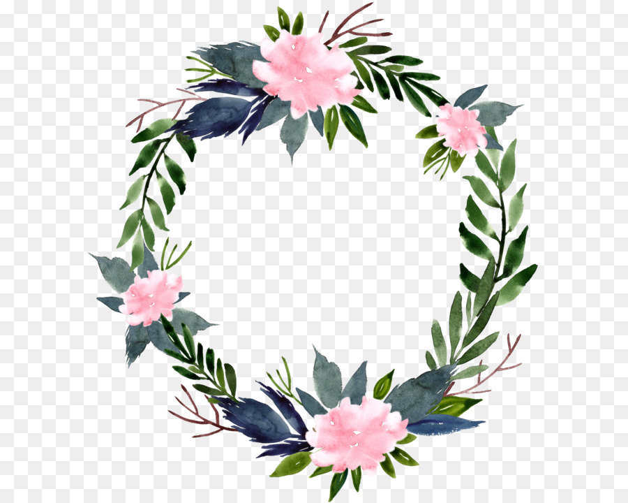 Flower Wreath Clip Art - Watercolor Flower Ring Round ...