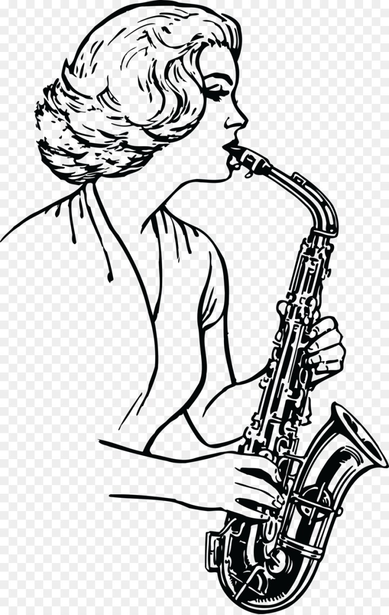saxophone drawing musical instruments brass instruments - saxophone
