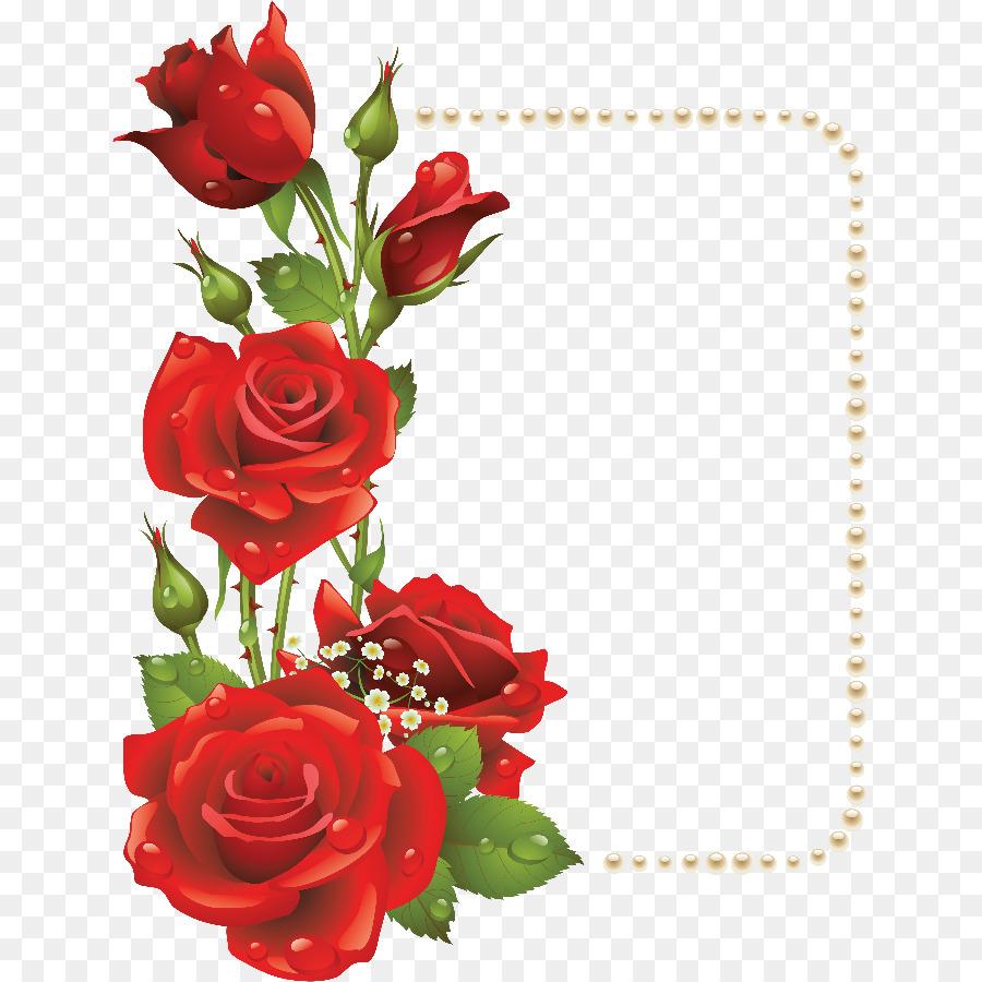 Flower Picture Frames Rose Clip Art Red Rose Border Png