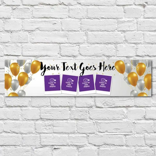 Personalised Birthday Banner with a silver and gold background
