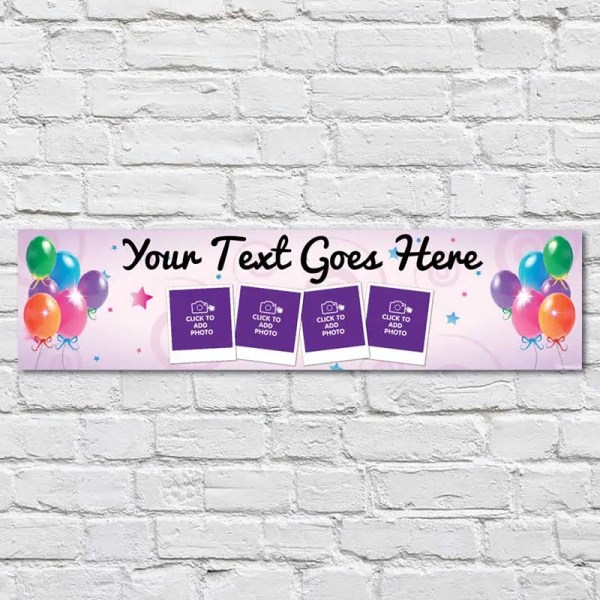 Personalised Birthday Banner with light pink background and balloons