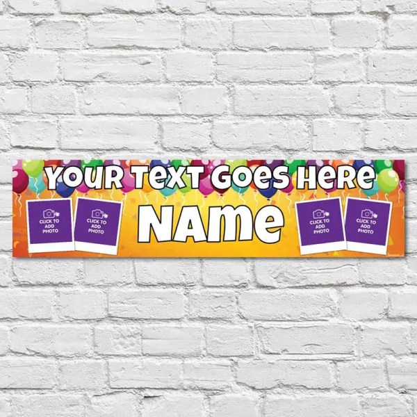 Personalised Birthday Banner with a yellow background and multi-coloured balloons