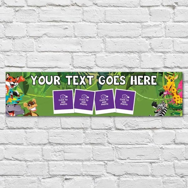 Personalised Party Banner with Green Jungle Background and Friendly Animals