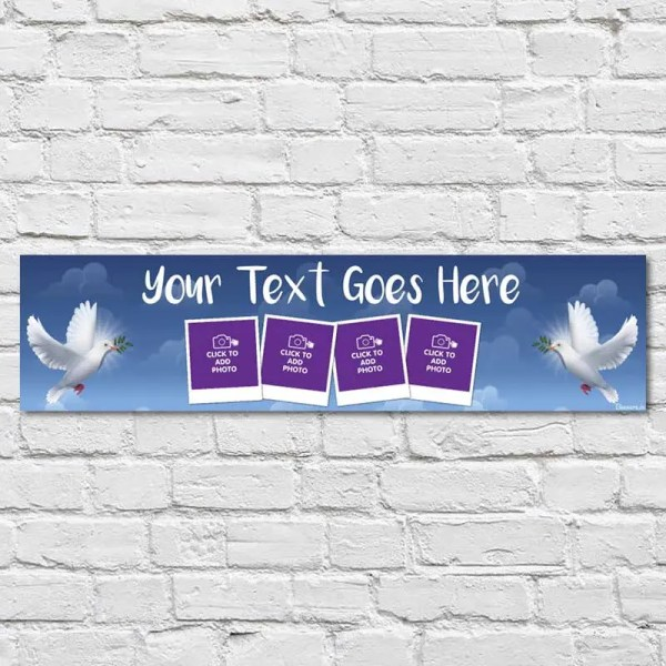 Personalised Communion and Confirmation Banner with a blue sky background and doves