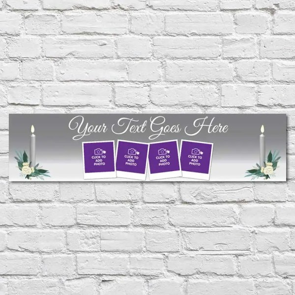 Personalised Communion and Confirmation Banner with a silver background and candles