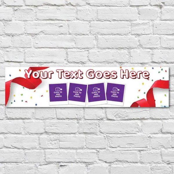 Personalised Debs Banner with photos and a white background with a red ribbon and confetti