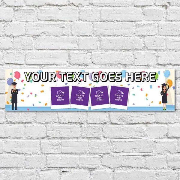 Personalised Graduation Banner with photos and a white and blue background with balloons students and confetti