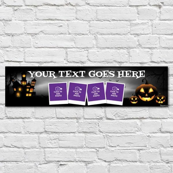 Personalised Halloween Banner with photos and a black background with a haunted house and pumpkins