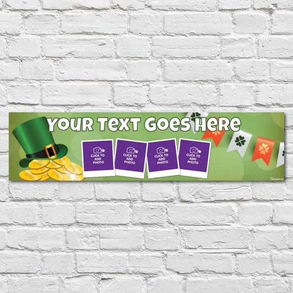 Personalised Travel Banner with a green background and a leprechaun hat with gold coins and bunting