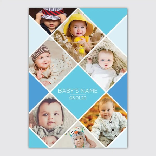 personalised blue collage poster for babies
