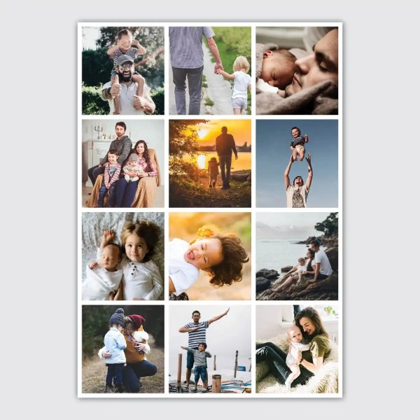 personalised photo collage poster with 12 photos