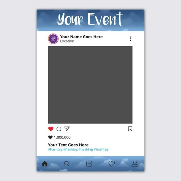 Personalised Selfie Frame Social Media Frame with a Blue Sky Background for Communions and Confirmations