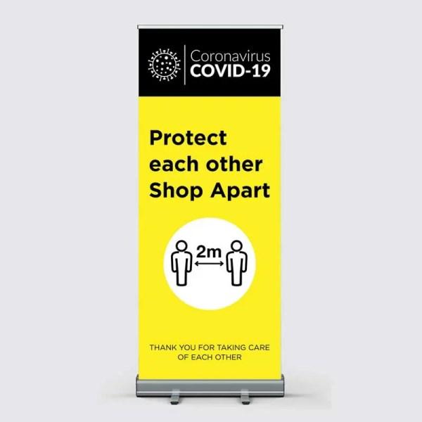 Covid-19 Coronavirus Shop Apart Pull Up Banner