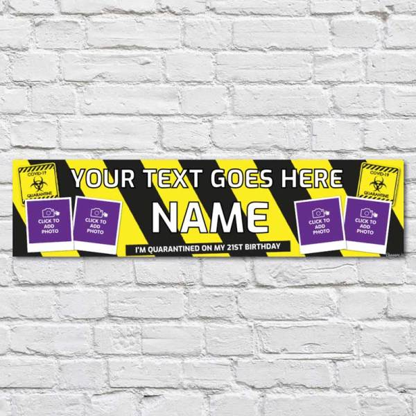personalised birthday banner with yellow and black quarantine lockdown coronavirus theme