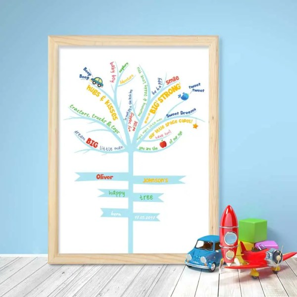 Personalised Baby Boy Poster with an illustration of a tree and customisable text