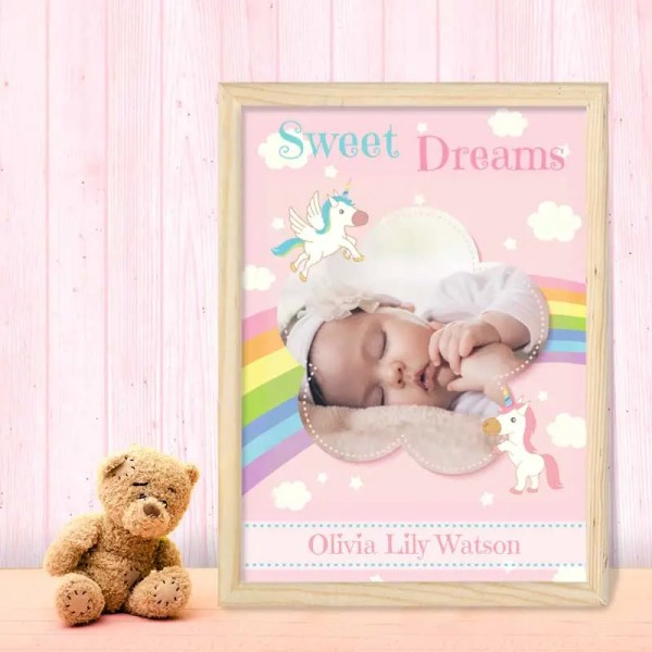 Personalised Baby Girl Poster with a rainbow and unicorn on a pink background