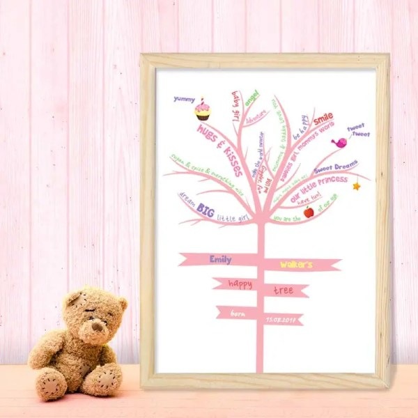 Personalised Baby Girl Poster with an illustration of a tree and customisable text