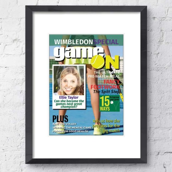 Personalised Magazine Poster with a tennis background and customisable text and images
