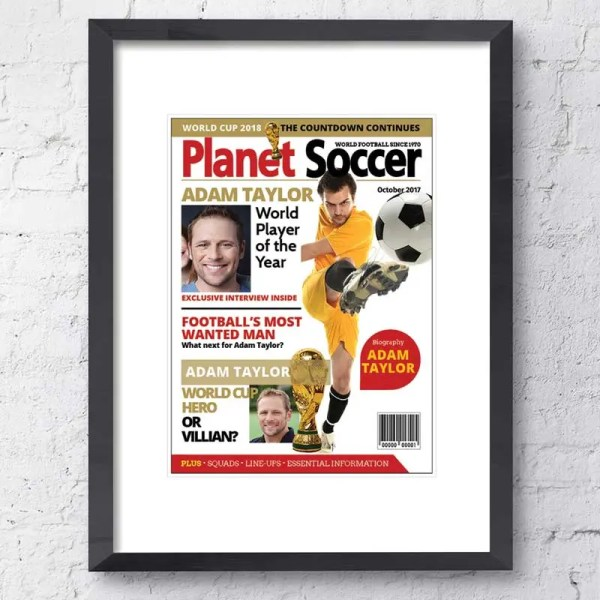 Personalised Magazine Poster with a Football background and customisable text and images