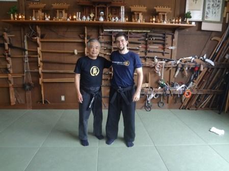 Noguchi Sensei and Pedro Henrique Shidoshi at Bujinkan Hombu Dojo in 2013
