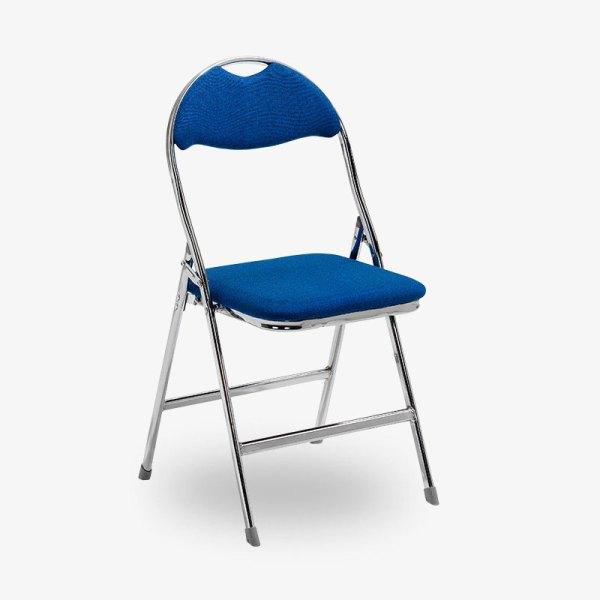blå fällbar klappstol tygsits krom