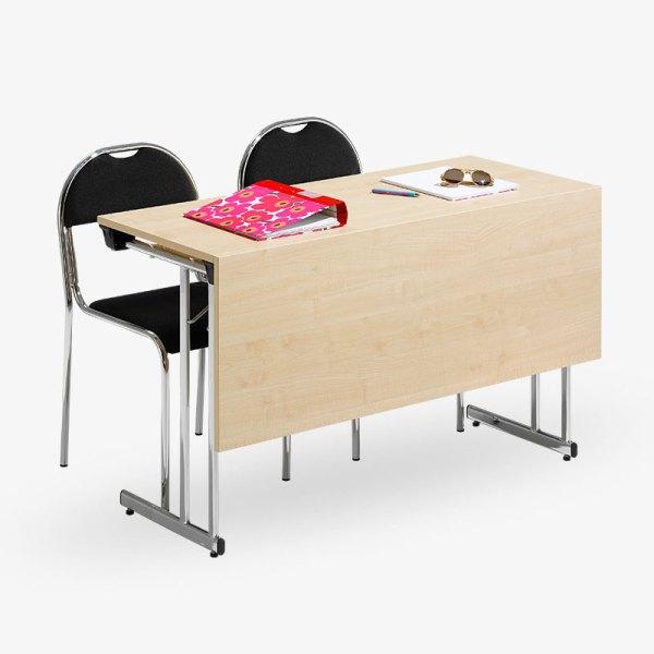 fällbart bord bok ek vit grå björk krom