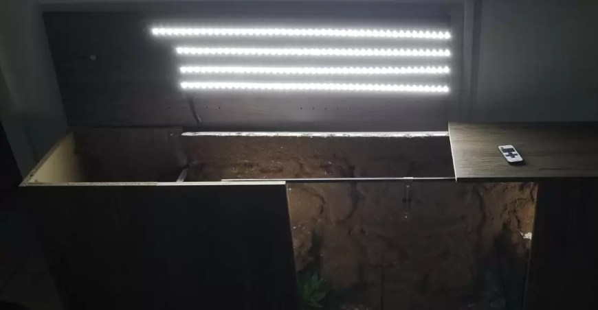 diy terrarium entertainment center LED lights